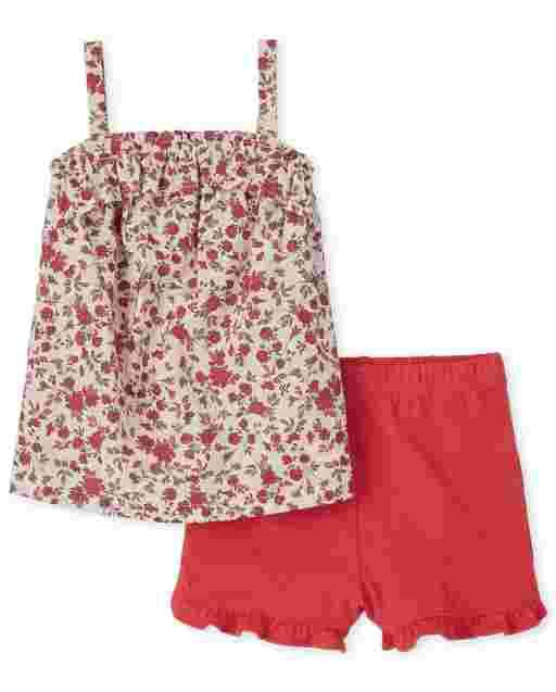 Toddler Girls Sleeveless Floral Print Ruffle Top And Knit Ruffle Shorts 2-Piece Set
