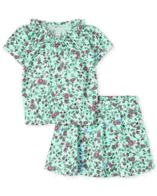 Toddler Girls Mix And Match Short Sleeve Floral Print Smocked Top And Knit Skort 2-Piece Set
