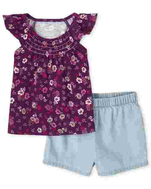 Toddler Girls Short Ruffle Sleeve Floral Print Top And Pull On Chambray Shorts 2-Piece Set