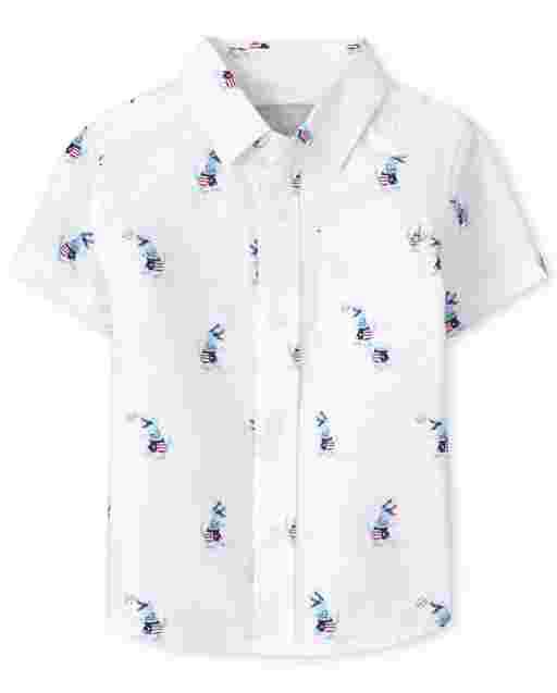 Camisa de popelina de popelina con estampado de dinosaurios de manga corta americana para bebés y niños pequeños