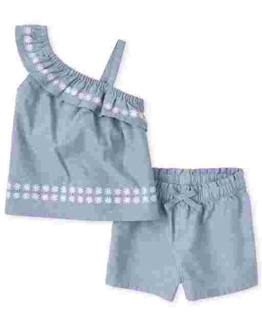Toddler Girls Sleeveless Chambray One Shoulder Top And Chambray Shorts 2-Piece Set