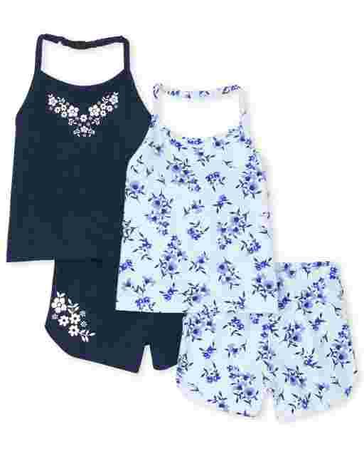 Toddler Girls Floral Halter Tops And Shorts 4-Piece Set