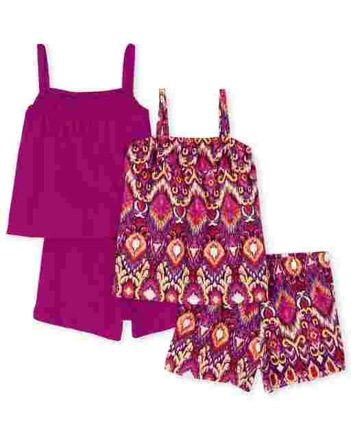 Toddler Girls Mix And Match Sleeveless Ruffle Top Crochet Top And Shorts 4-Piece Set