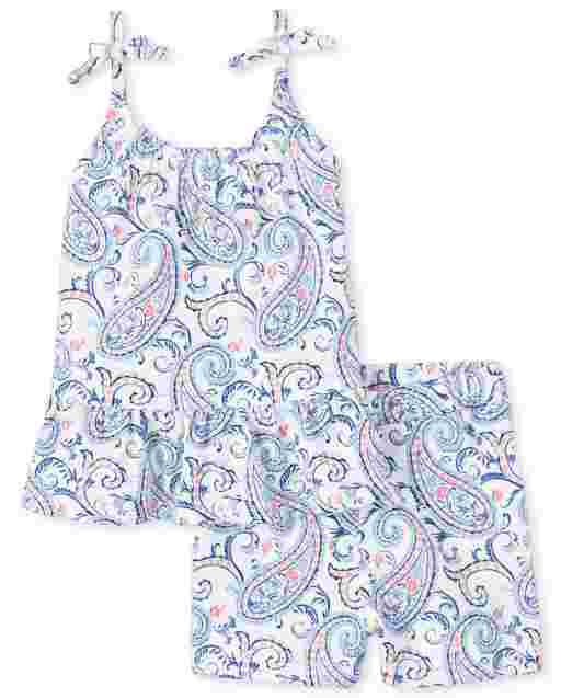 Toddler Girls Sleeveless Paisley Tie Shoulder Ruffle Top And Knit Shorts 2-Piece Set