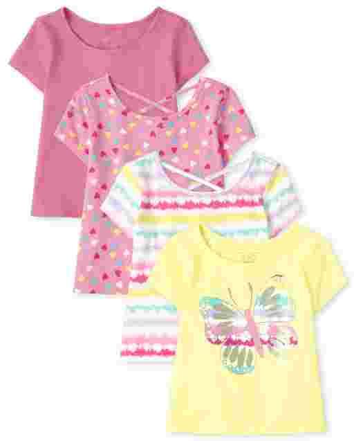 Toddler Girls Short Sleeve Print Basic Layering Tee 4-Pack