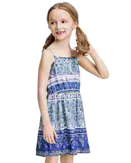 Baby And Toddler Girls Mommy And Me Sleeveless Floral Border Print Woven Matching Dress