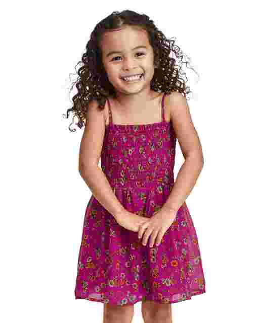 Baby And Toddler Girls Mommy And Me Sleeveless Floral Print Woven Matching Smocked Dress