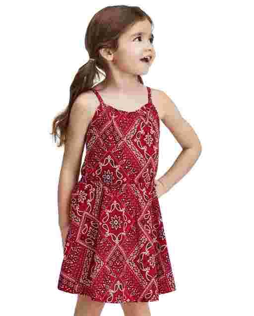Baby And Toddler Girls Americana Sleeveless Bandana Print Knit Dress
