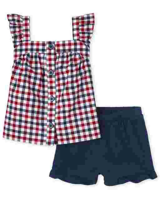 Conjunto de 2 piezas de camisa con botones de popelina con volantes a cuadros americana sin mangas y pantalones cortos de punto con volantes para niñas pequeñas