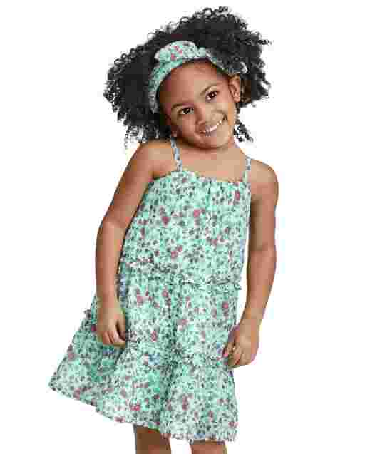 Baby And Toddler Girls Mommy And Me Sleeveless Floral Print Woven Matching Tiered Dress