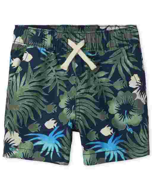 Pantalones cortos tipo jogging con estampado tropical para bebés y niños pequeños