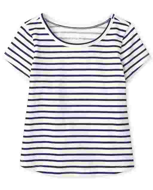 Baby And Toddler Girls Short Sleeve Striped Top