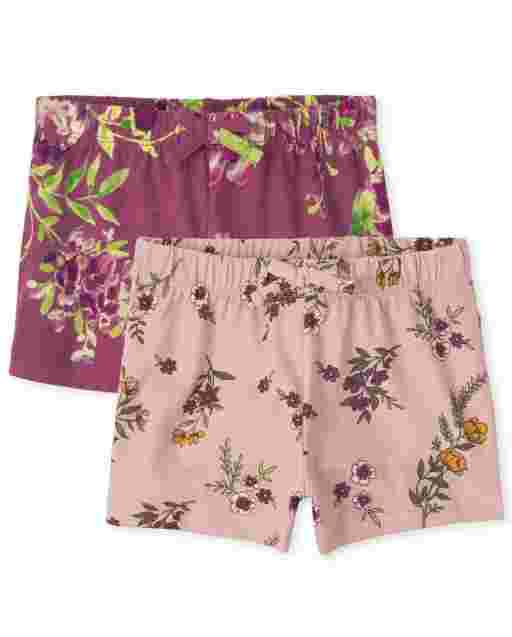 Toddler Girls Mix And Match Knit Print Shorts 2-Pack