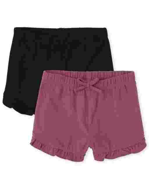 Toddler Girls Mix And Match Knit Ruffle Shorts 2-Pack