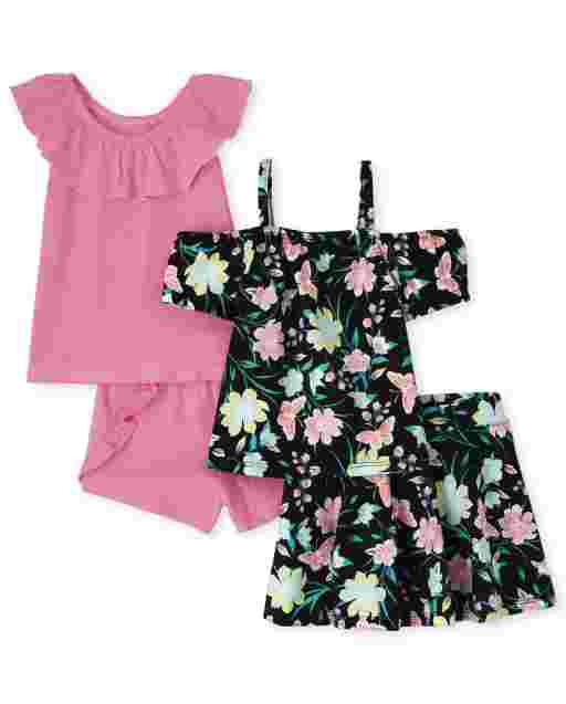 Toddler Girls Mix And Match Sleeveless Ruffle Top Off Shoulder Butterfly Print Top Shorts And Skort 4-Piece Set