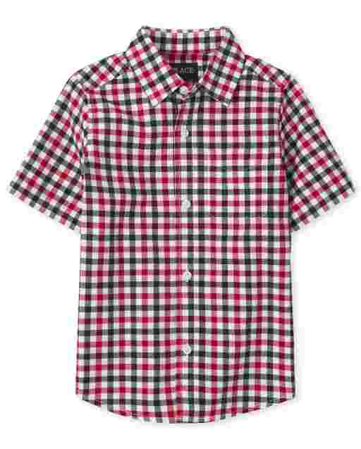 Boys Dad And Me Americana Short Sleeve Gingham Poplin Matching Button Down Shirt