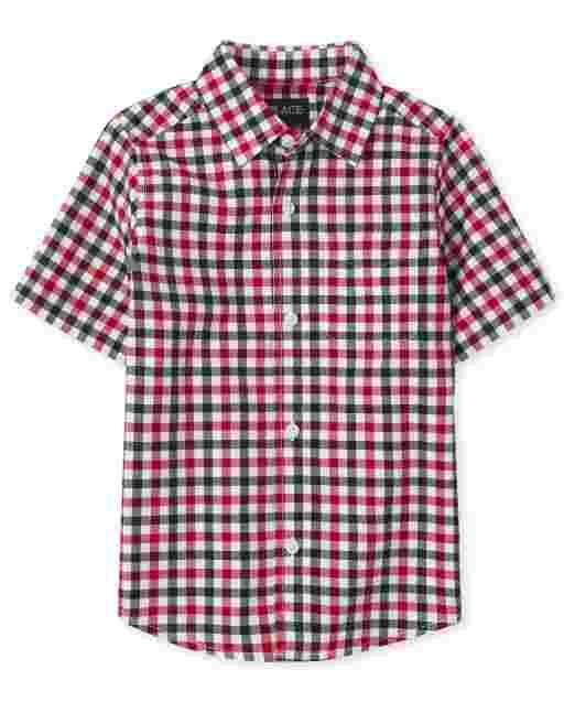 Camisa americana de manga corta con botones a juego de popelina a cuadros vichy Dad And Me para niño