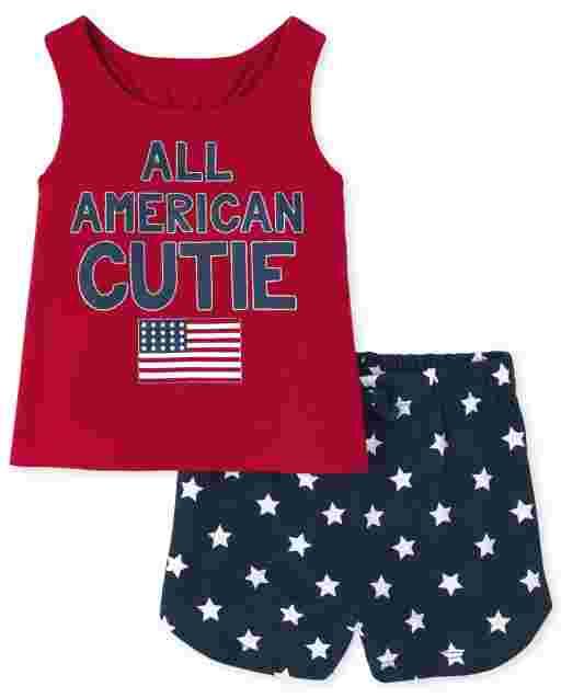 Niñas pequeñas Americana sin mangas ' All American Cutie ' Conjunto de 2 piezas de camiseta sin mangas y pantalones cortos de punto con estampado de estrellas