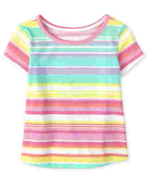 Baby And Toddler Girls Short Sleeve Rainbow Striped Top