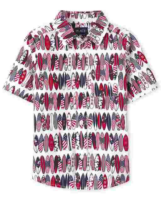 Boys Americana Short Sleeve Surf Board Print Poplin Button Down Shirt