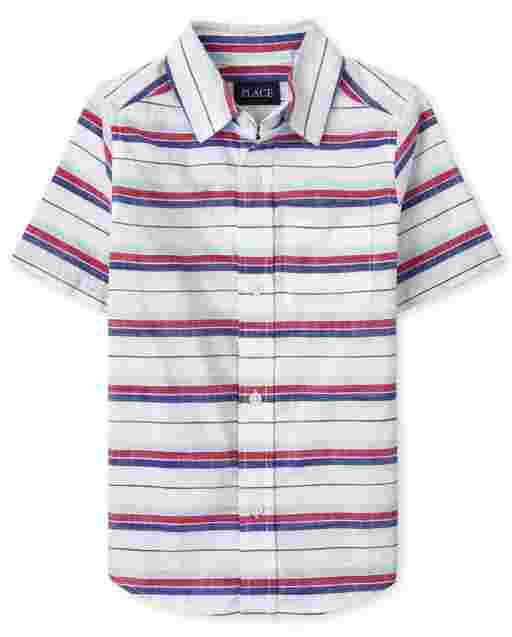 Camisa de manga corta con botones de cambray a rayas para niños