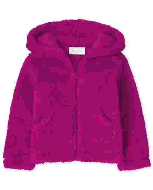 Baby And Toddler Girls Uniform Long Sleeve Sherpa Zip Up Hoodie