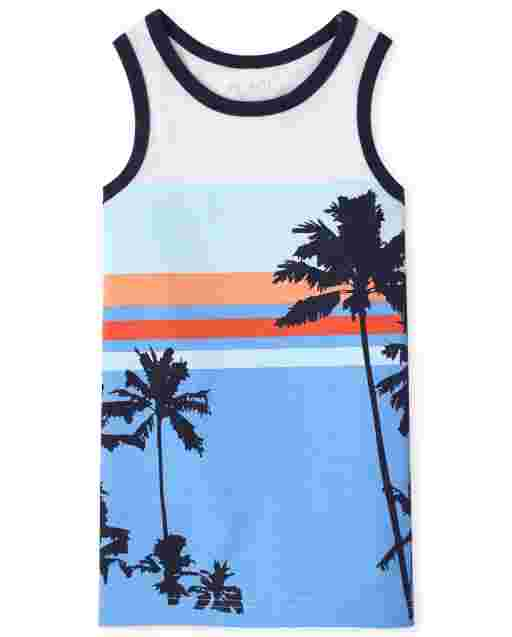 Boys Mix And Match Sleeveless Palm Tree Graphic Tank Top