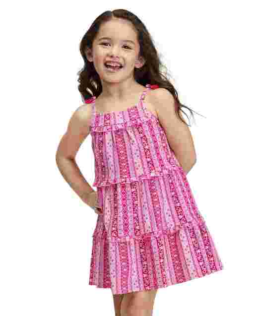 Baby And Toddler Girls Sleeveless Floral Striped Print Knit Tiered Dress