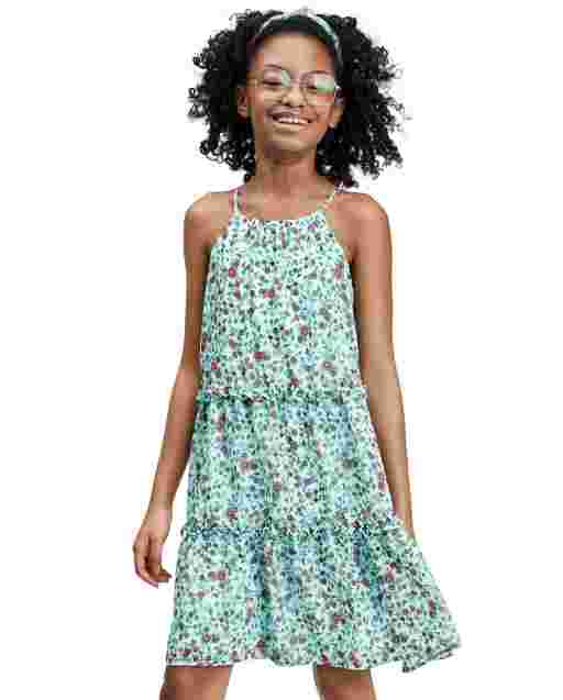 Girls Mommy And Me Sleeveless Floral Print Woven Matching Tiered Dress