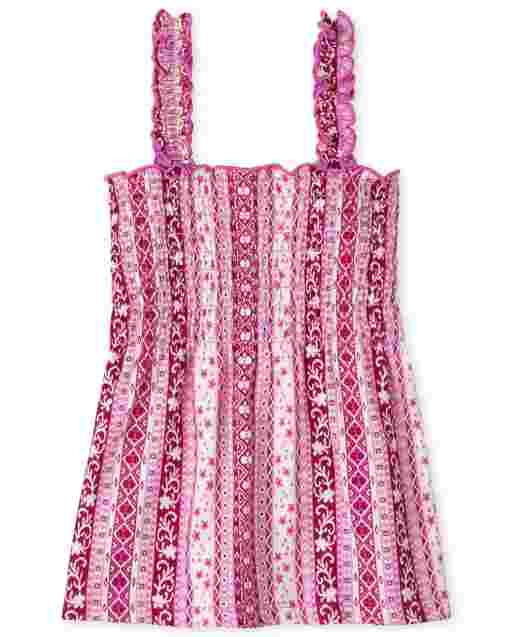 Girls Sleeveless Print Smocked Tank Top