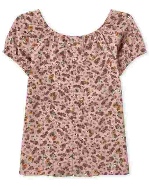Girls Short Sleeve Tie Dye Ruched Top
