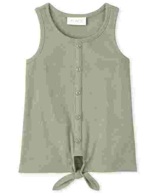 Girls Sleeveless Ribbed Button Tie Front Tank Top