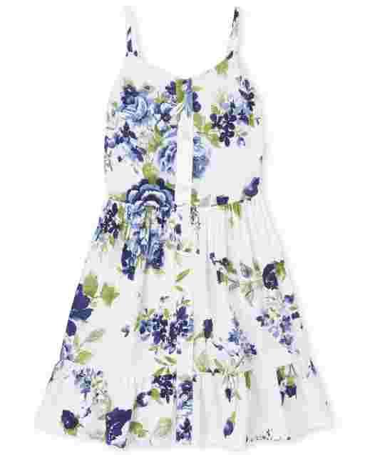 Girls Sleeveless Floral Print Woven Button Front Dress