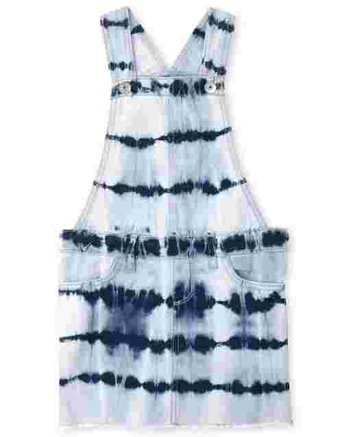 Girls Sleeveless Tie Dye Denim Skirtall
