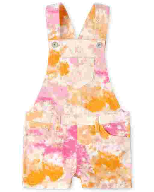 Girls Sleeveless Rainbow Tie Dye Print Twill Shortalls
