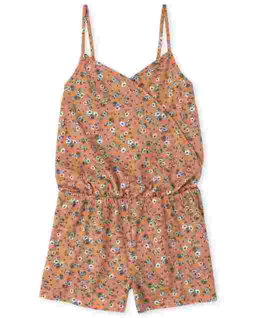 Girls Sleeveless Floral Print Knit Faux Wrap Romper