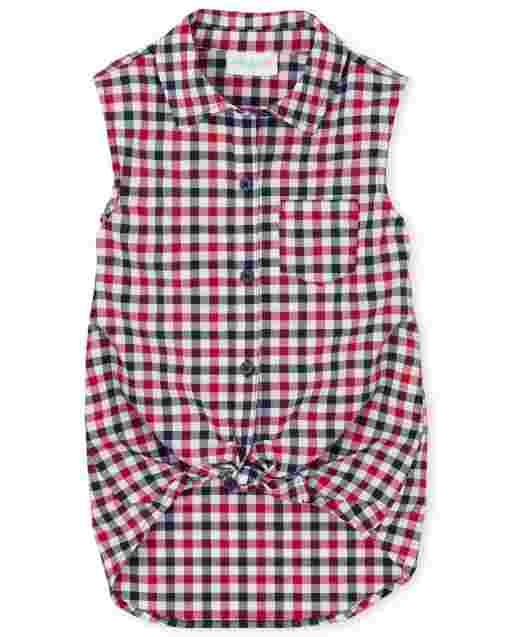 Girls Americana Sleeveless Plaid Poplin Tie Front Button Down Tank Top