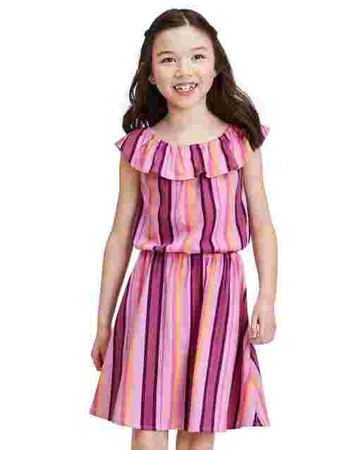 Girls Mommy And Me Short Sleeve Striped Knit Matching Ruffle Dress