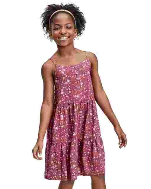 Girls Sleeveless Floral Print Knit Tiered Dress