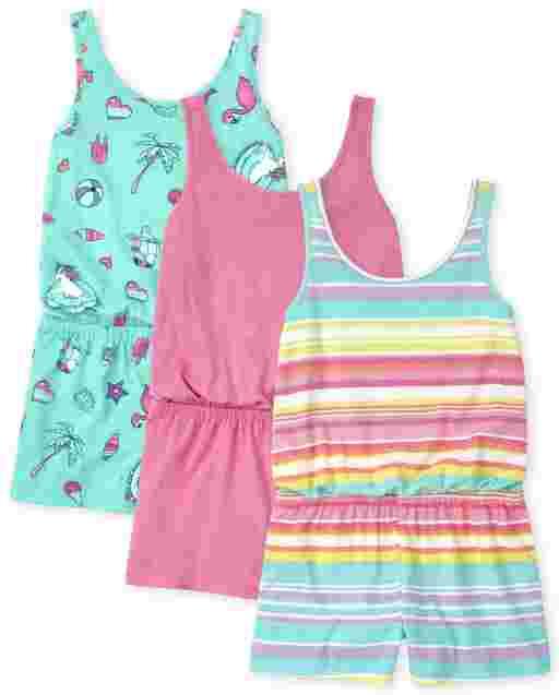Girls Sleeveless Print Knit Romper 3-Pack