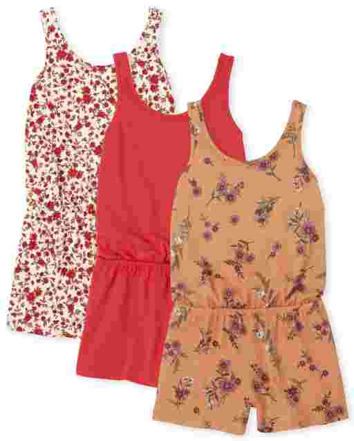Girls Sleeveless Floral Print And Solid Knit Romper 3-Pack