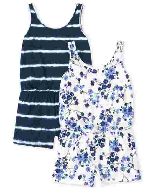 Girls Sleeveless Floral And Tie Dye Knit Romper 2-Pack