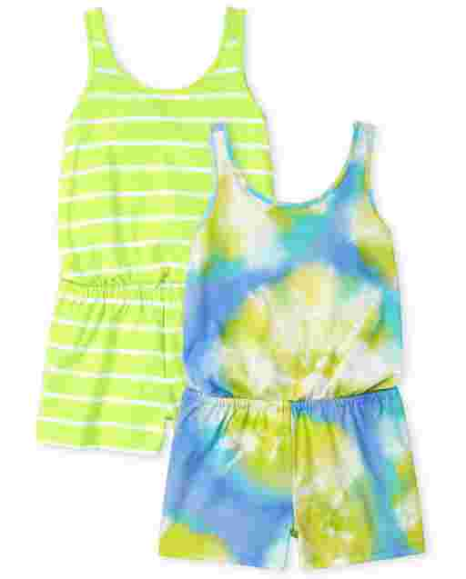 Girls Sleeveless Tie Dye And Striped Knit Romper 2-Pack