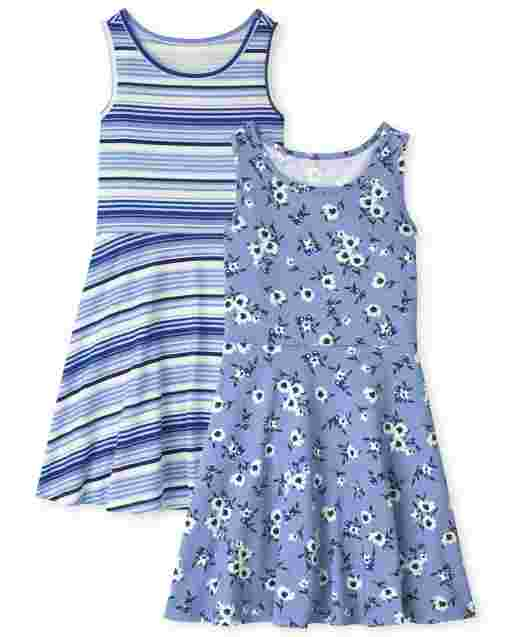 Girls Sleeveless Floral And Striped Knit Tank Dress 2-Pack
