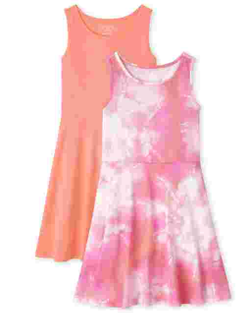 Girls Sleeveless Solid And Tie Dye Knit Tank Dress 2-Pack