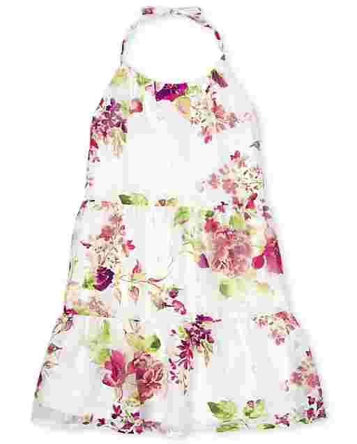 Girls Sleeveless Floral Print Woven Tiered Halter Dress