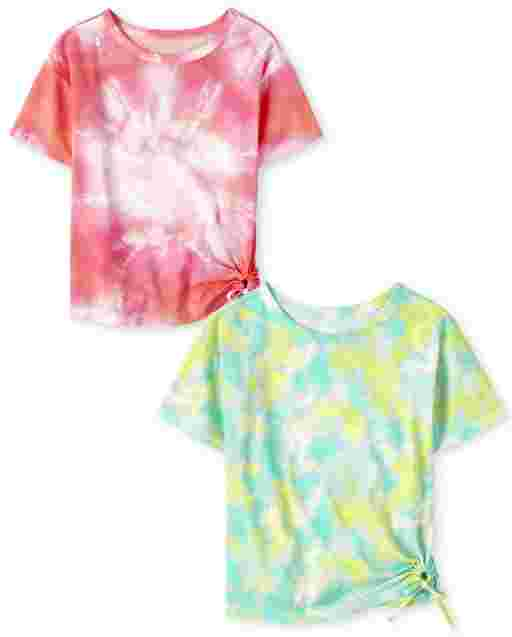 Girls Mix And Match Short Sleeve Tie Dye Tie Front Top 2-Pack