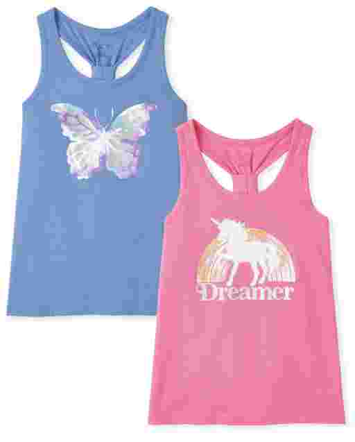 Girls Mix And Match Sleeveless Graphic Tank Top 2-Pack