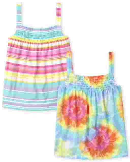 Girls Mix And Match Sleeveless Rainbow Tie Dye And Striped Smocked Tank Top 2-Pack