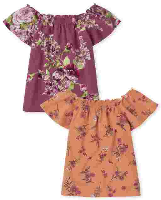 Girls Mix And Match Short Sleeve Floral Print Smocked Top 2-Pack